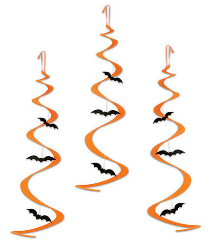 Flying Bat Halloween Whirls - Hanging Decorations