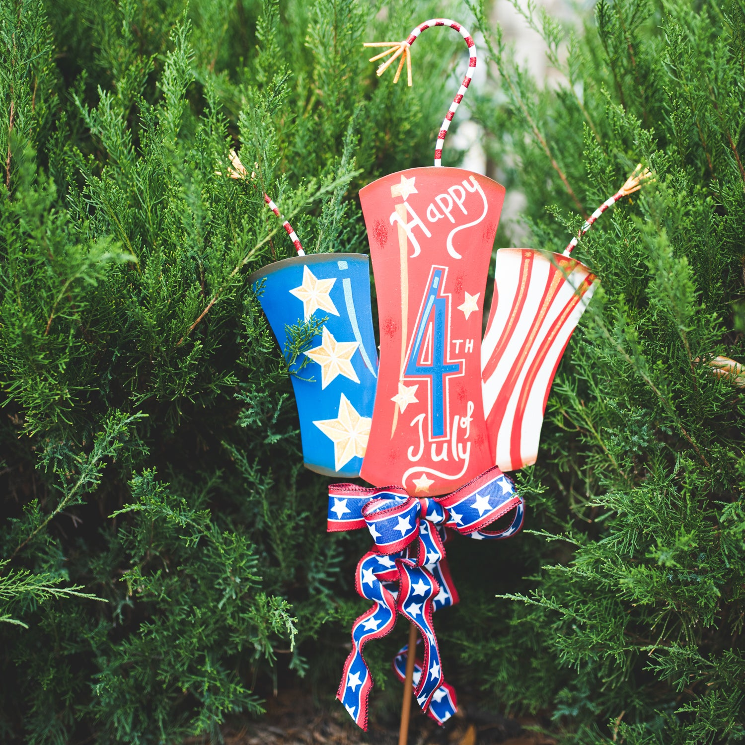 4th Of July Firecracker Trio Yard Stake Or Hanger Metal