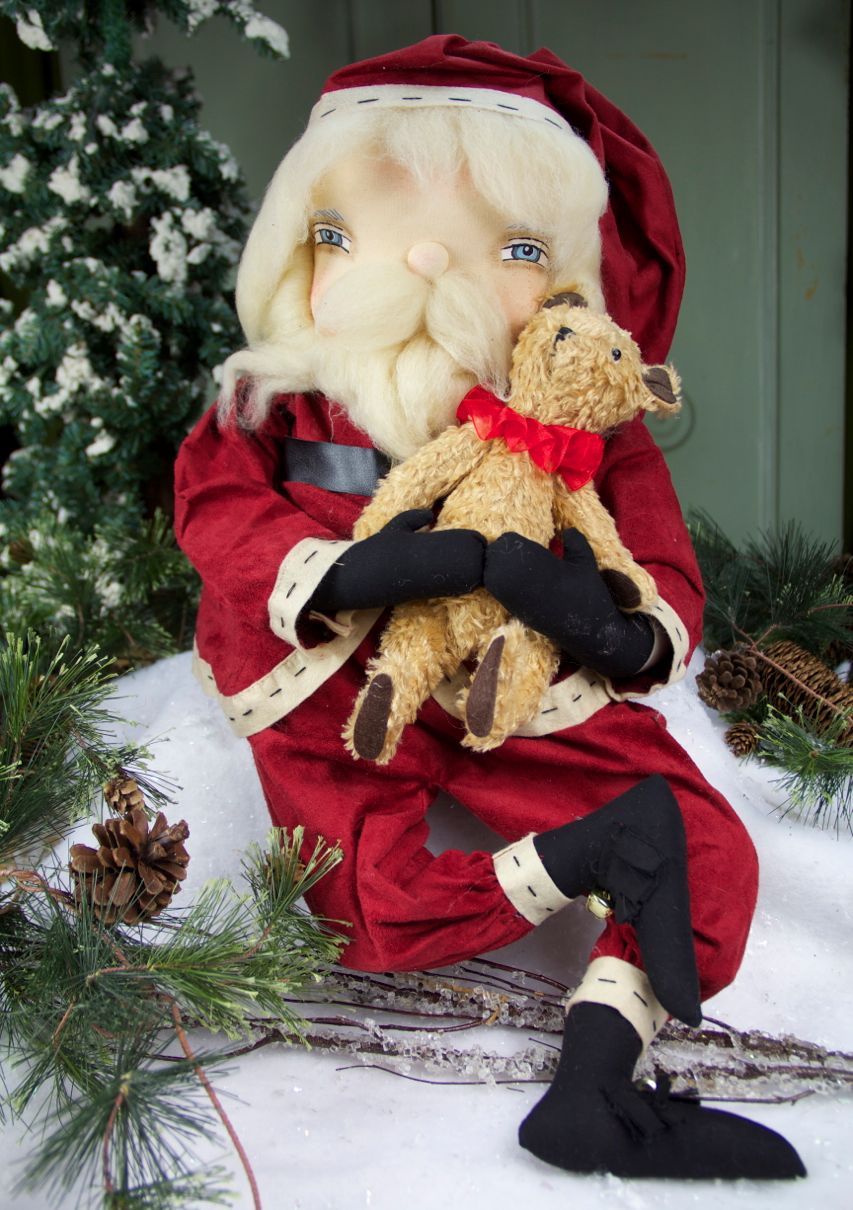 Freddy Santa with Teddy - Joe Spencer Primitive Santa