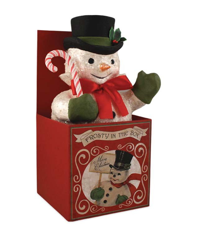 Frosty in Box Snowman Display by Bethany Lowe