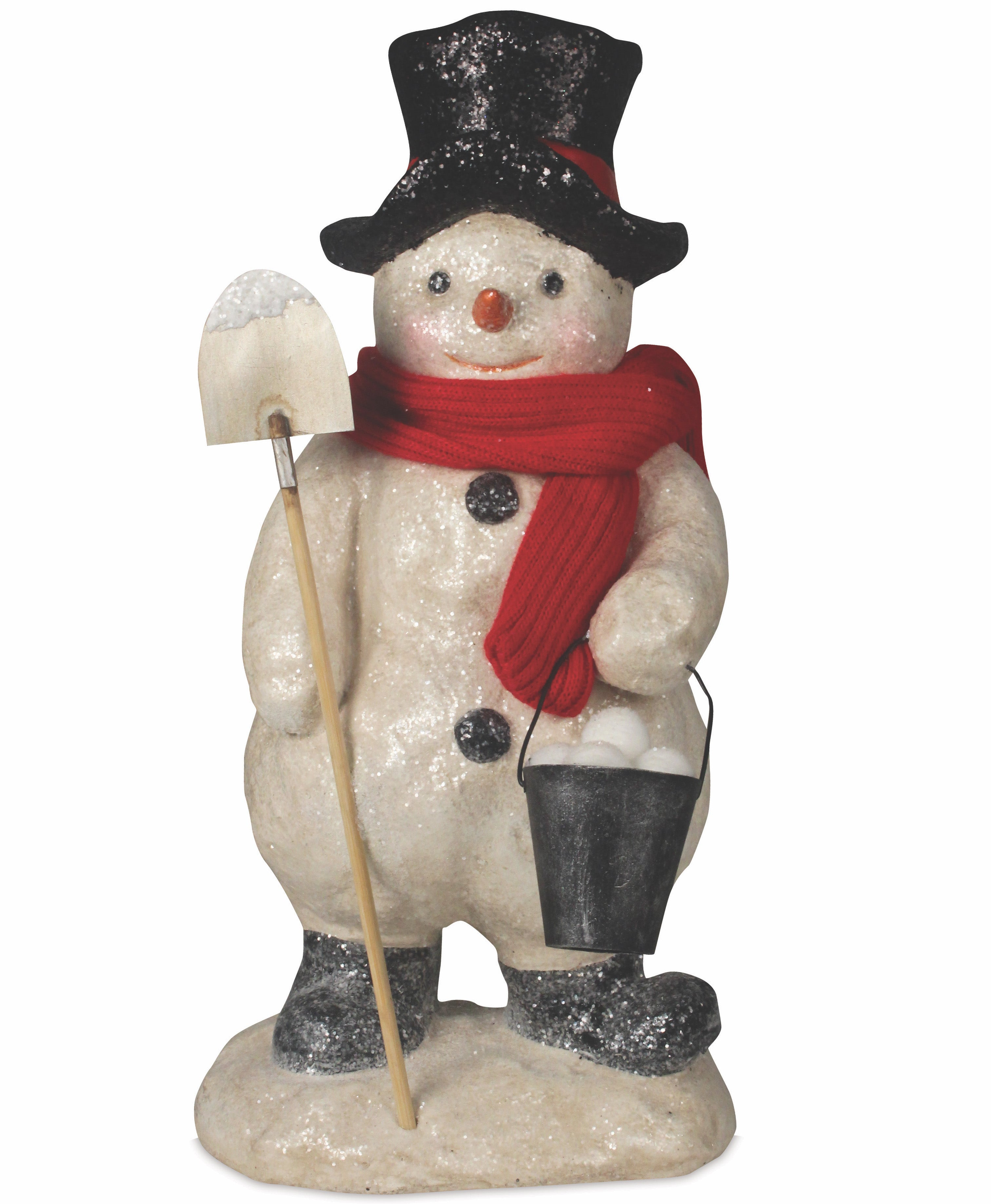 Frosty Snowman with Shovel and Bucket of Snowballs