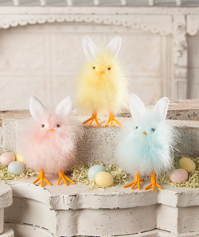Fuzzy Chicks with Bunny Ears by Bethany Lowe