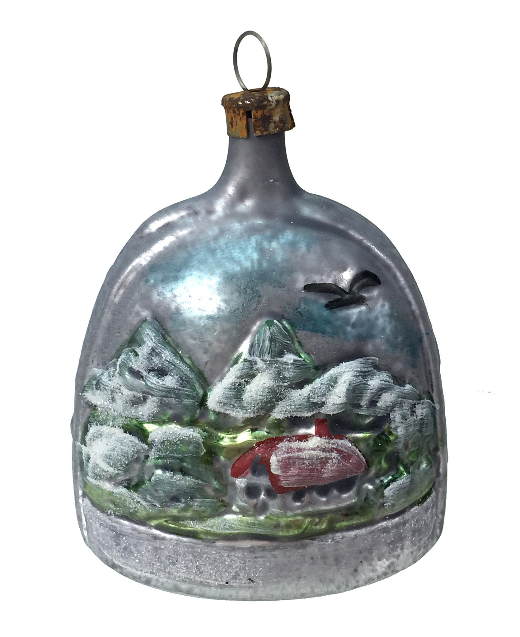 Vintage Patina German Winter Bell Ornament with Mountain Village Scene