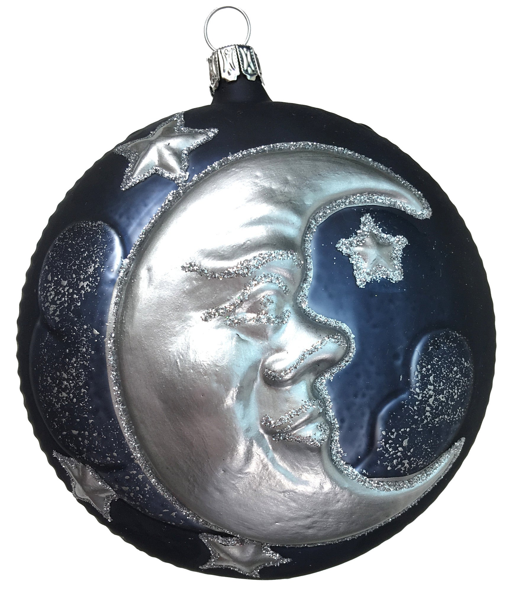 Man in the Moon Glass Ornament, Blue and Silver
