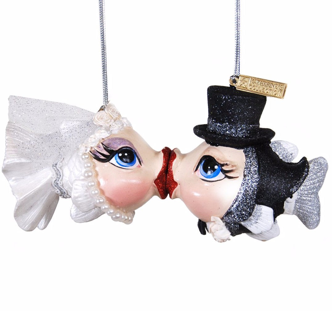 Getting Hooked Bride & Groom Kissing Fish Ornaments