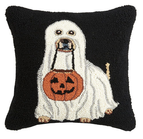 Dog with Ghost Costume & Pumpkin Bucket Pillow