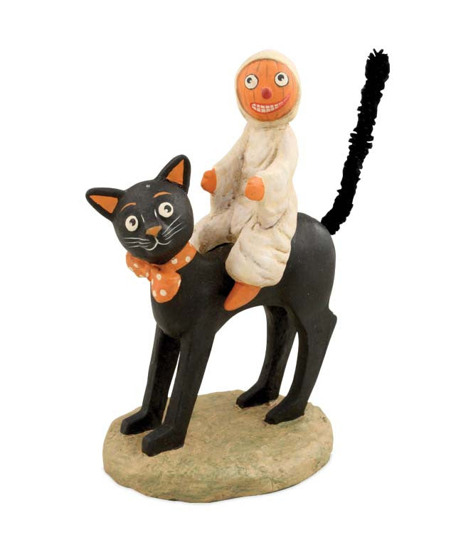 Ghostie Black Cat Ride Halloween Figurine
