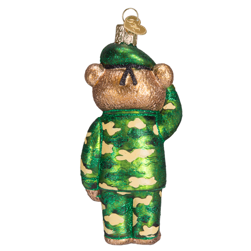Glass Army Bear Ornament - Backside