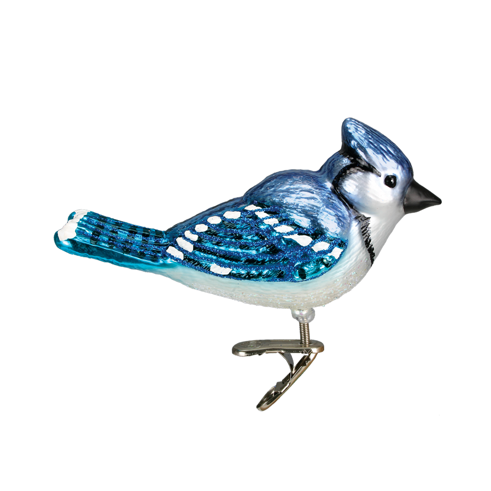 Bright Blue Jay Ornament Clip - Old World Christmas Bird