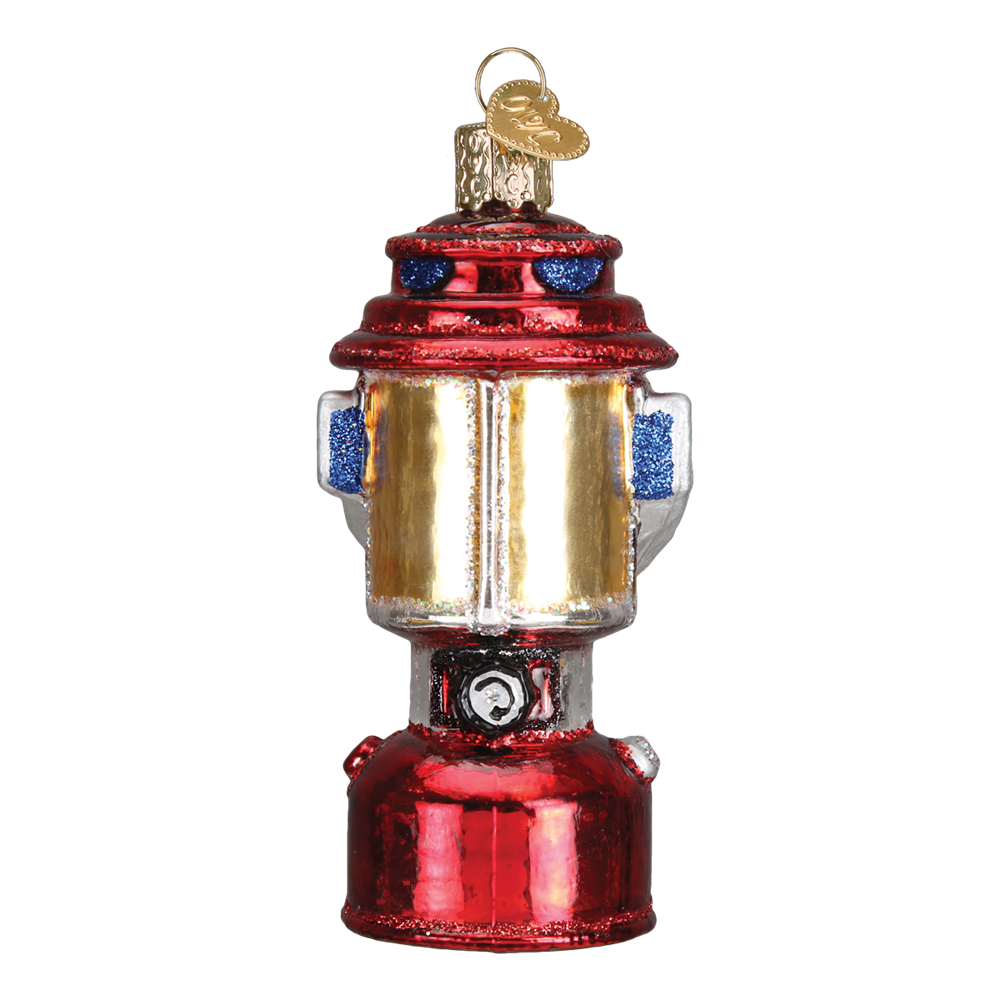 Red Camping Lantern - Glass Christmas Ornament