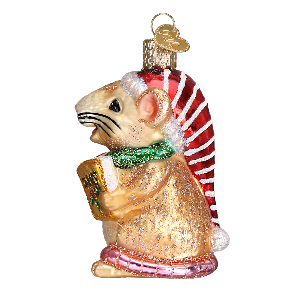 Christmas Mouse Glass Ornament