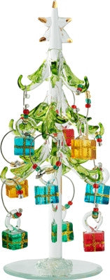 Glass Christmas Tree with Gift Box Wine Charms