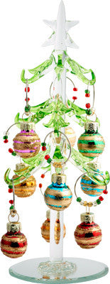 Glass Christmas Tree with Striped Ornament Wine Charms
