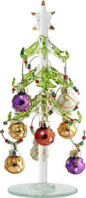 Glass Christmas Tree with Pearl Ornament Wine Charms