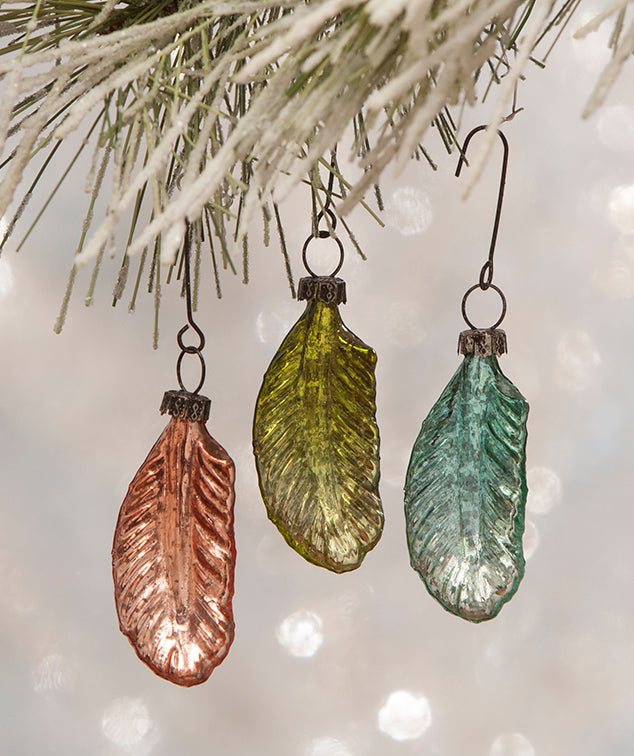 Pastel Mini Glass Feather Ornaments