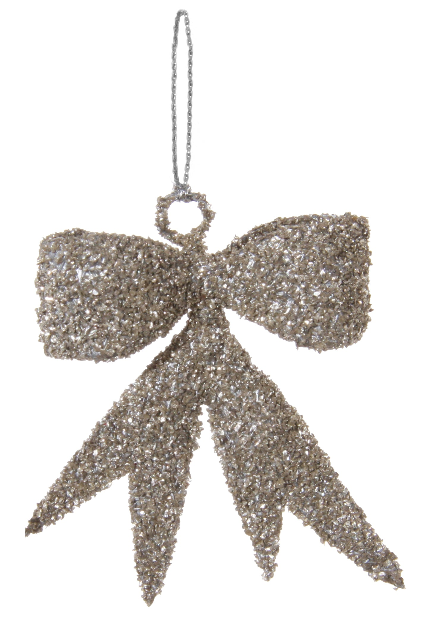 Glass Glitter Bow Ornaments - Antiqued Ornament