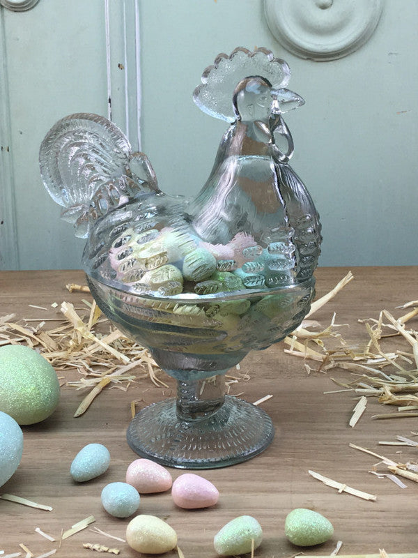 Glass Rooster Candy Dish