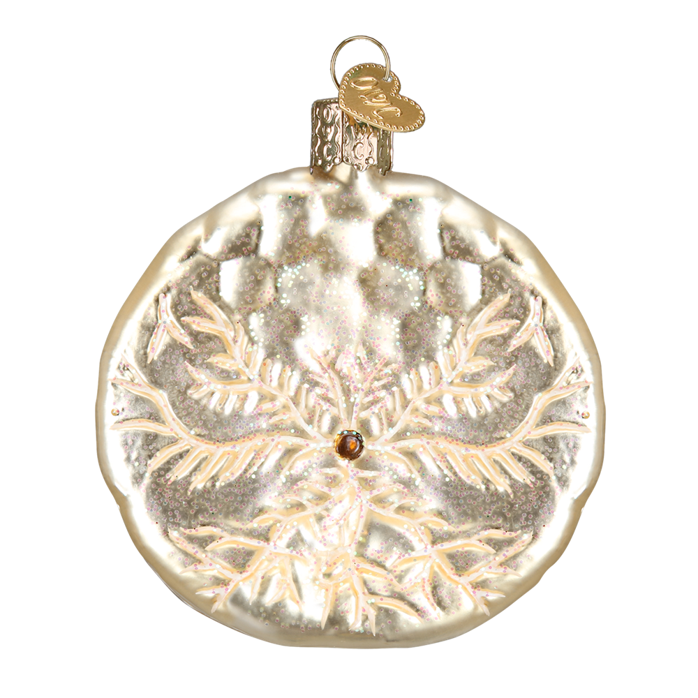 Backside of Glass Sand Dollar Ornament