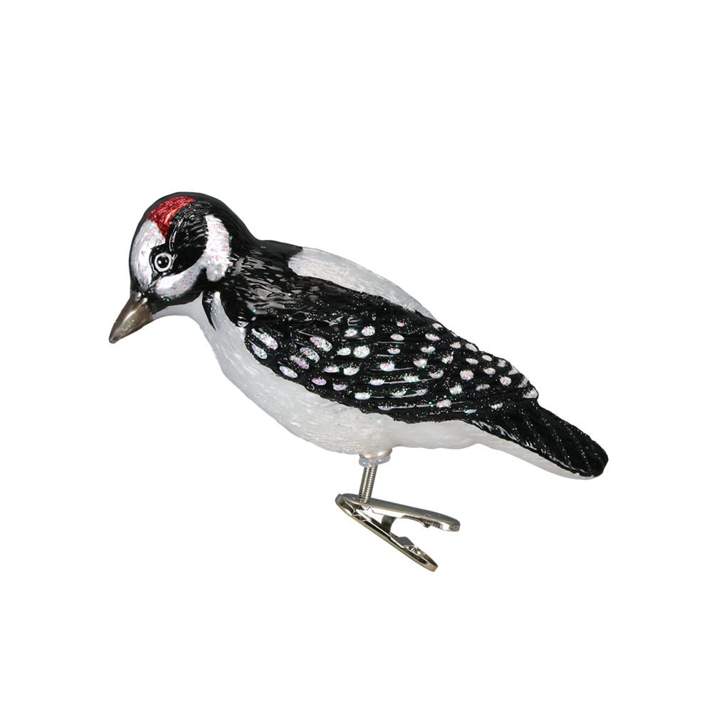 Glass Woodpecker Ornament Clip