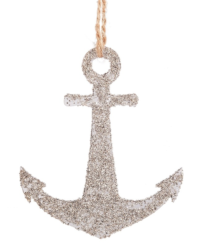 Glittered Anchor Silhouette Ornament