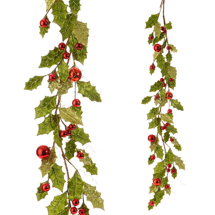 Glittered Holly Ball Garland
