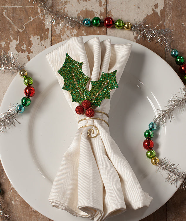 Glittered Holly Leaf Napkin Ring