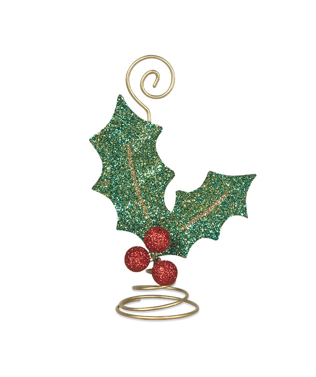 Glittered Holly Leaf Placecard Holder
