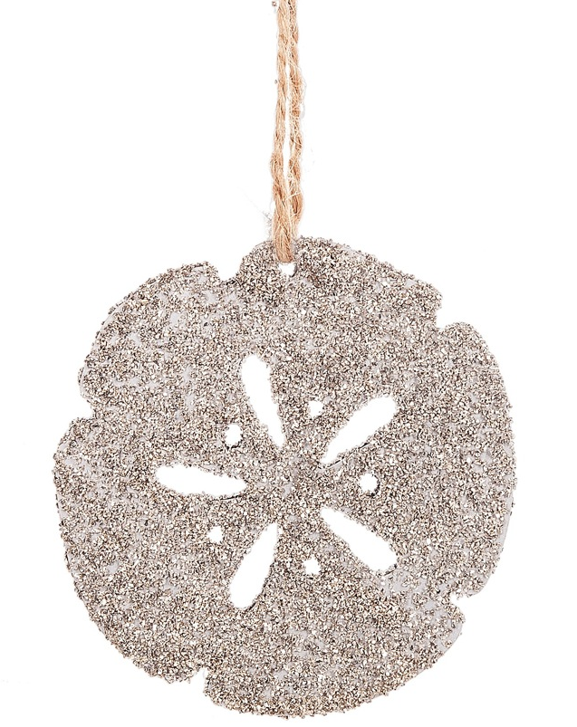 Glittered Sand Dollar Silhouette Ornament
