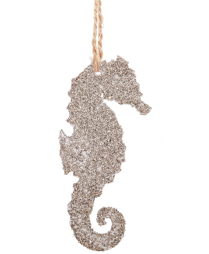 Glittered Sea Horse Silhouette Ornament
