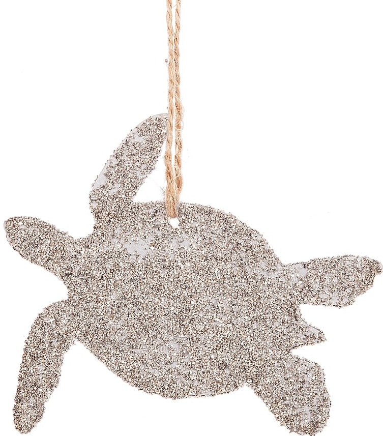 Glittered Sea Turtle Silhouette Ornament