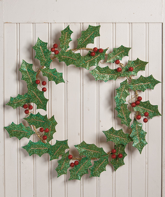 Glittered Tin Holly Wreath