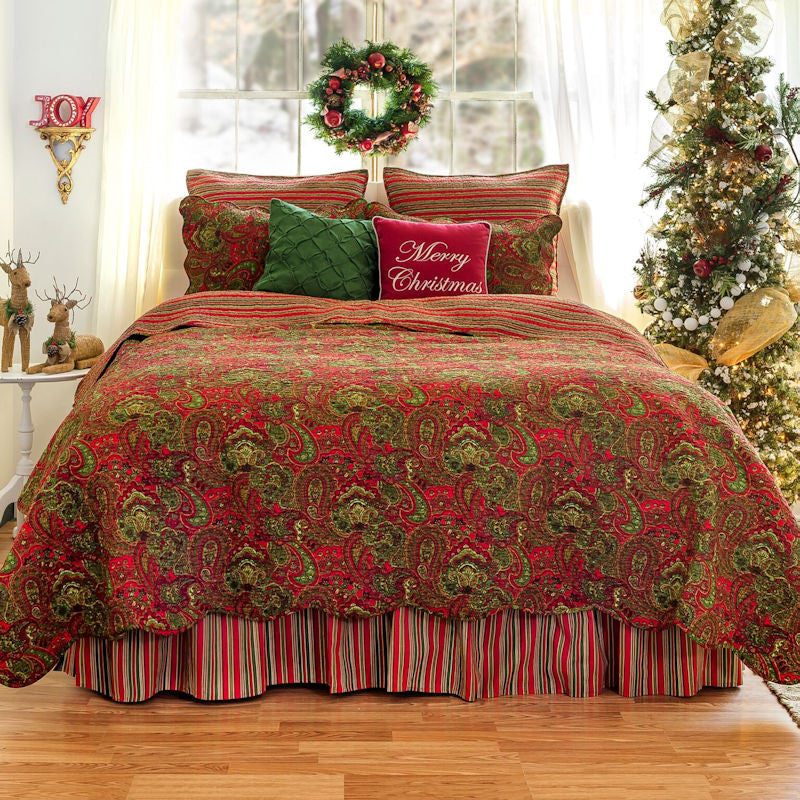 Gloria Christmas Quilt | Red & Green Paisley & Stripe Pattern