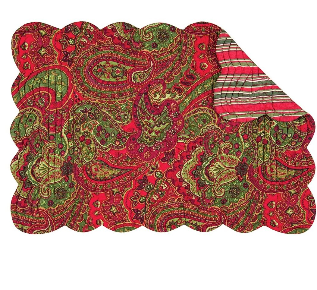 Gloria Quilted Christmas Placemats - Red & Green Paisley & Stripe