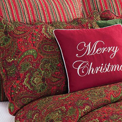Gloria Quilted Christmas Sham | Red & Green Paisley
