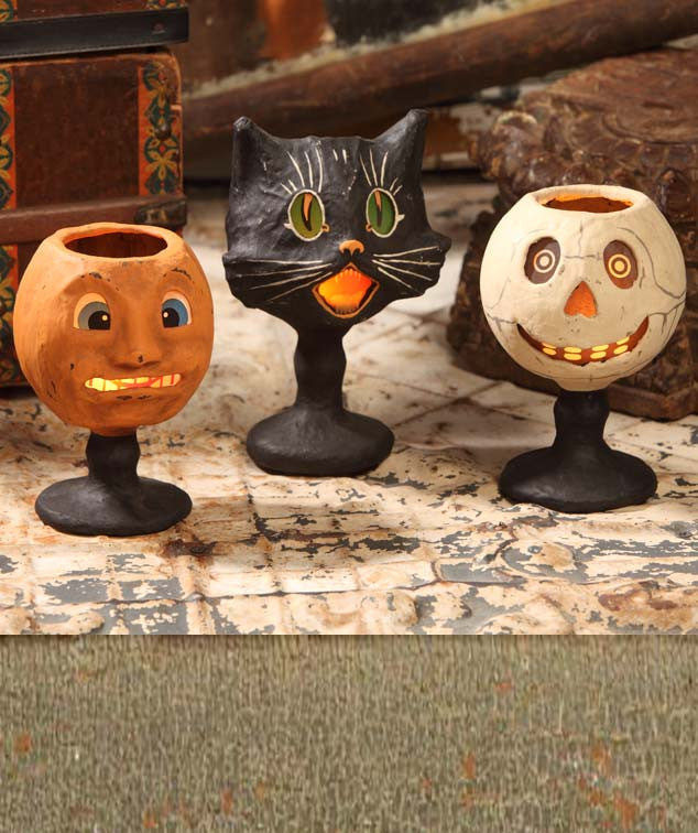 Goblin Goblets - Paper Mache Pumpkin Sassy Cat and Skull - Bethany Lowe Halloween