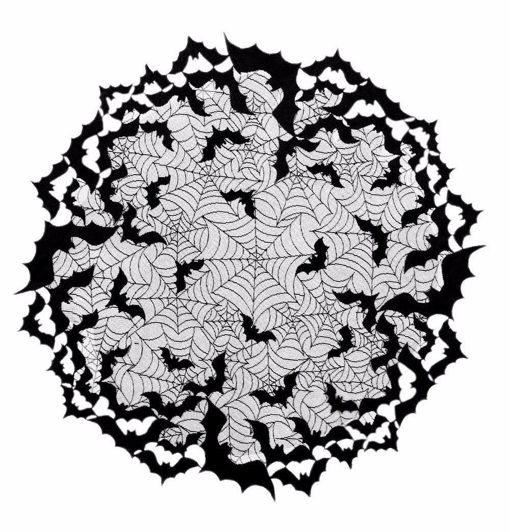 Going Batty Black Lace Round Table Topper With Bats