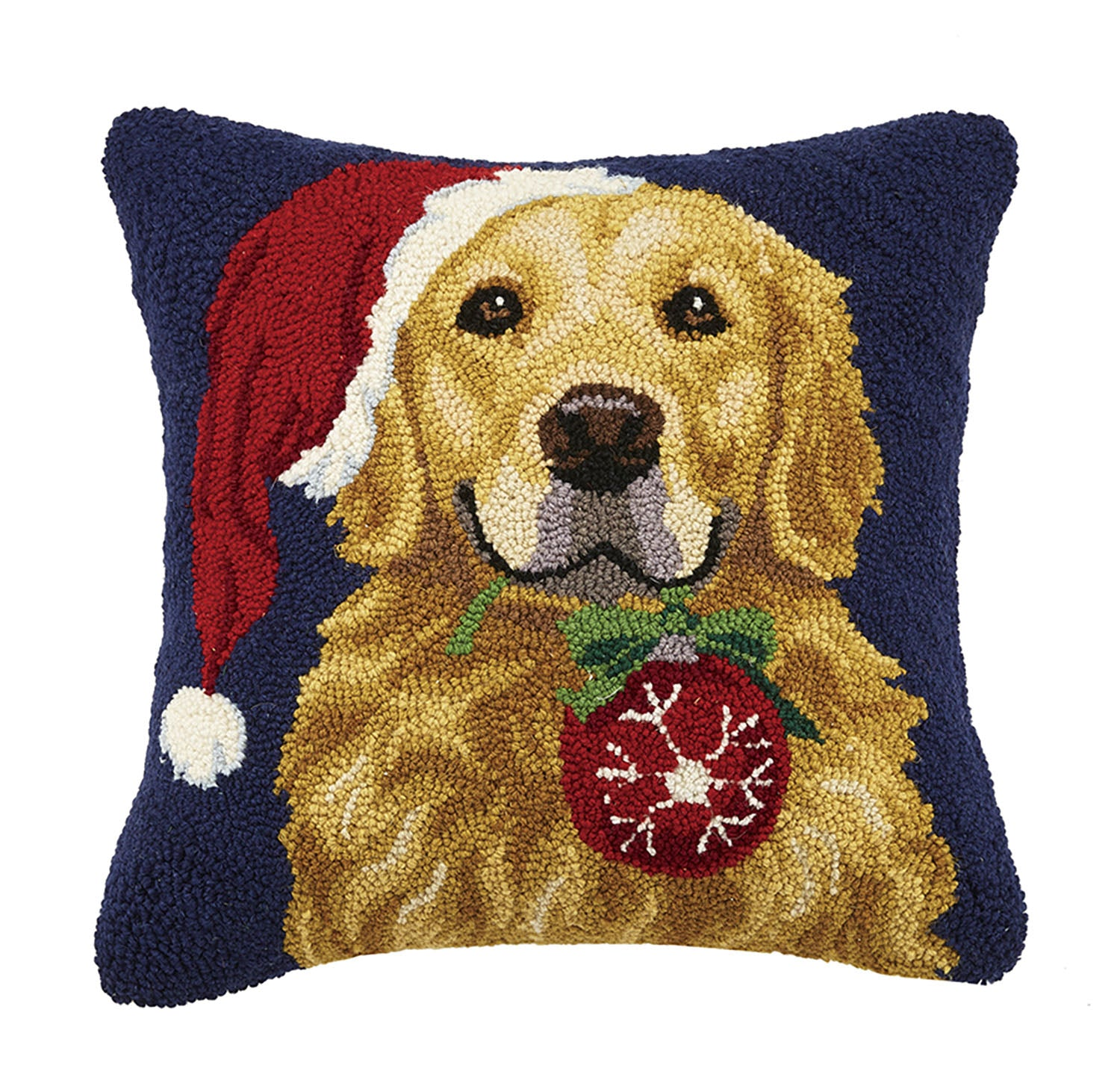 Golden Retriever Plays Santa Hooked Pillow