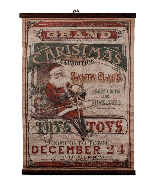 Grand Christmas Expedition Scroll - Vintage Santa Sign