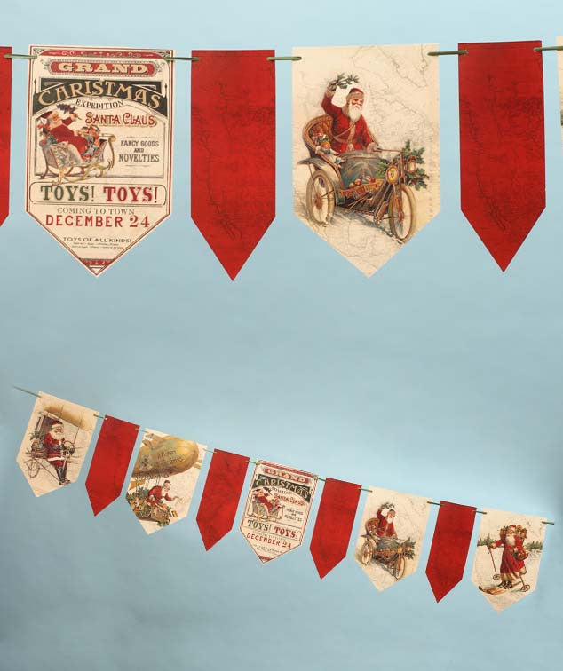Grand Christmas Expedition Banner with Vintage Traveling Santa