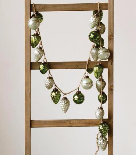 Green & Mint Embossed Mercury Glass Ornament Garland