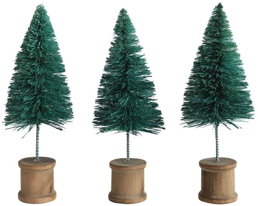 Green Bottle Brush Trees with Spool Base