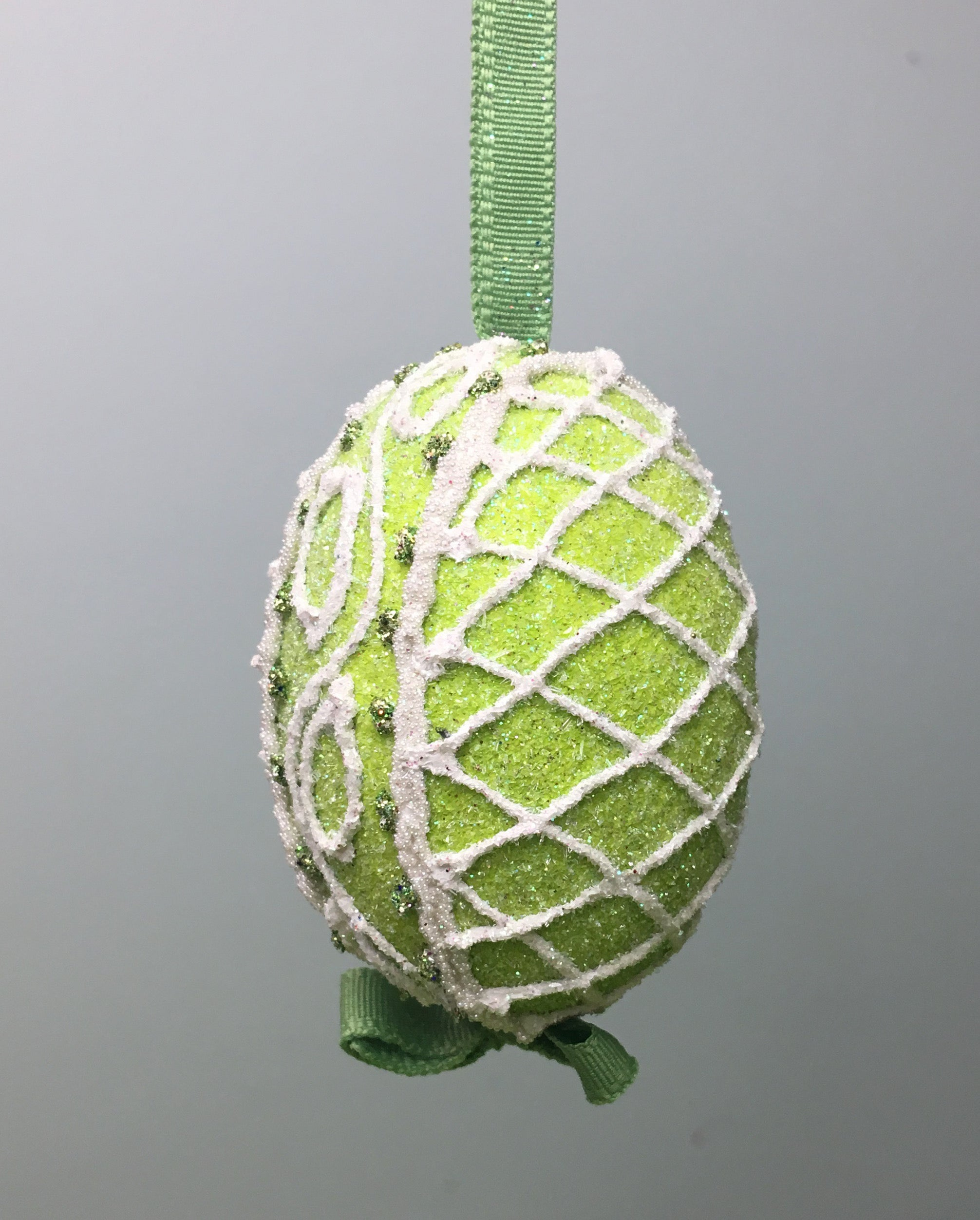 Green Sugar Lattice Egg Ornament