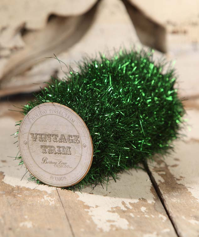 Green Tinsel Trim for Crafts & Decorations