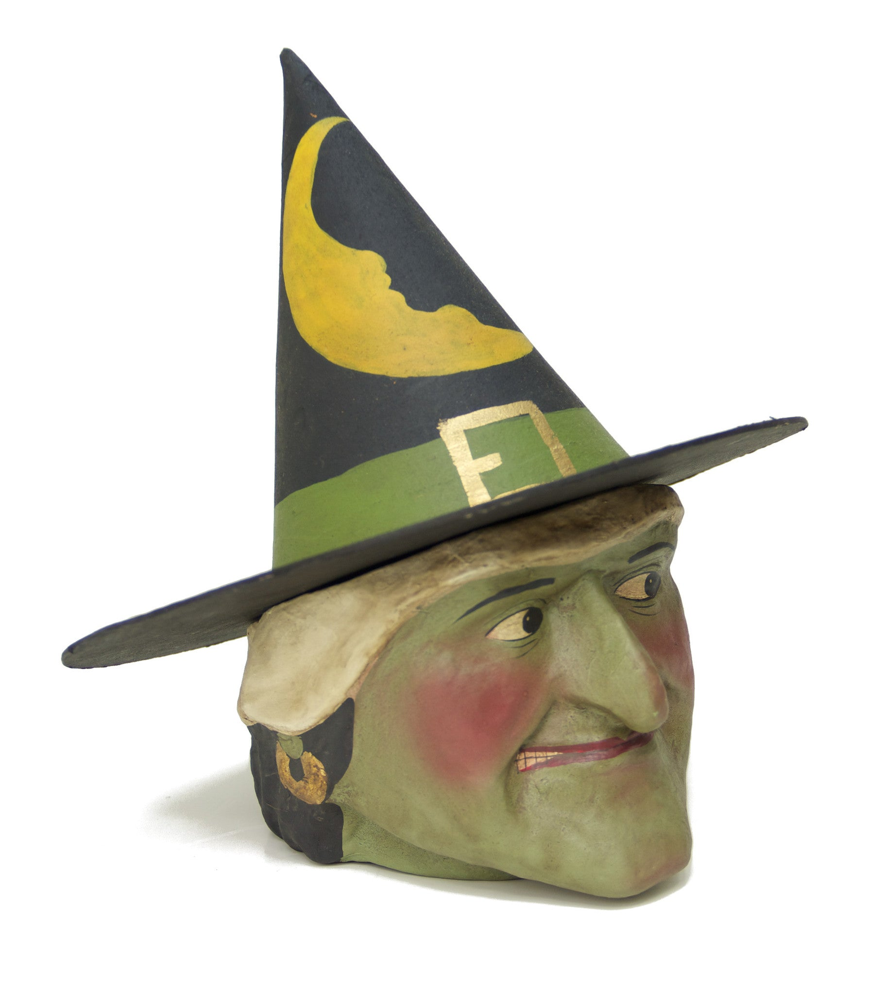 Green Witch Paper Mache Candy Bucket