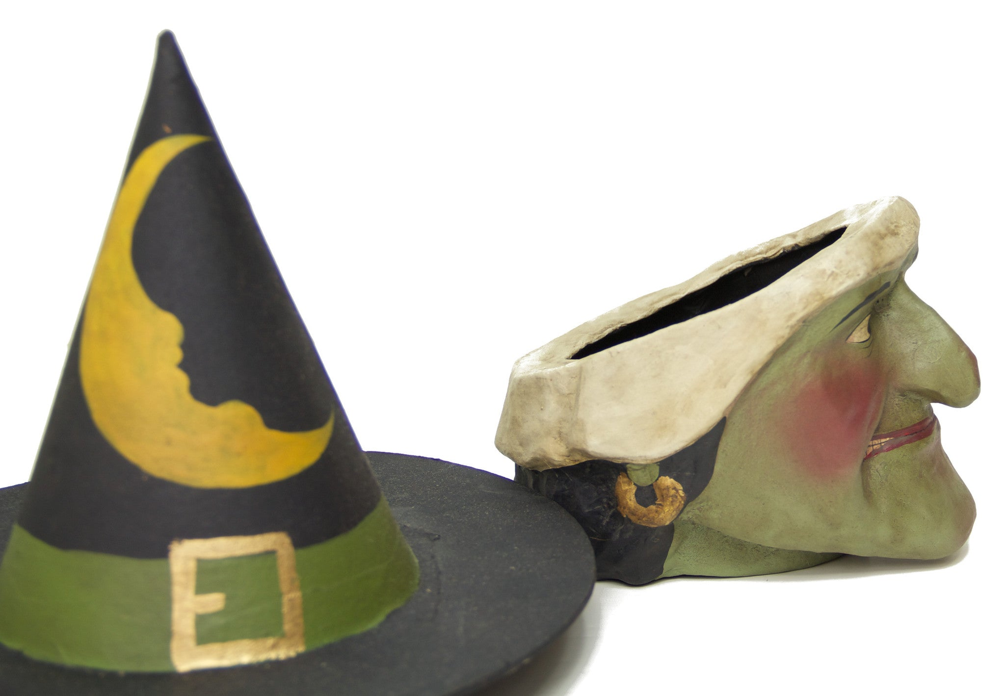 Paper Mache Witch with Hat Candy Bucket for Halloween Display