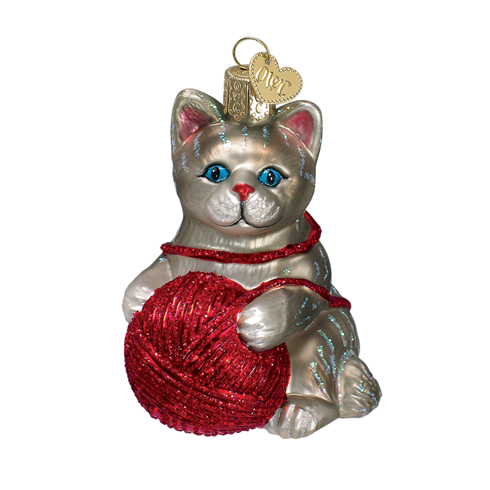 Grey Kitten Ornament with Ball of Yarn