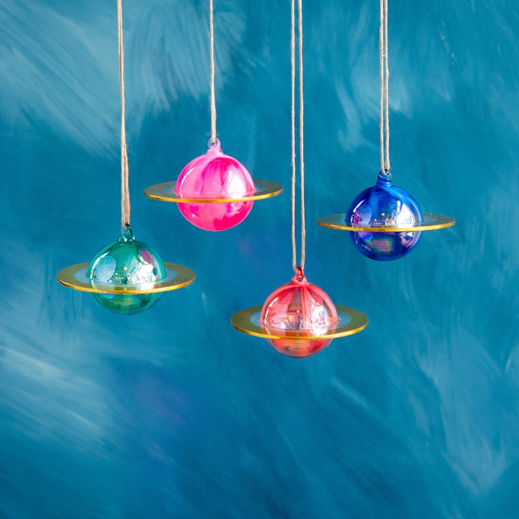 Groovy Gilded Planet Ornaments, Glass