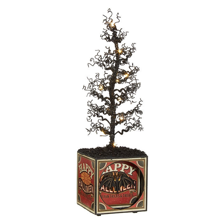 Halloween Box with Lighted Tree