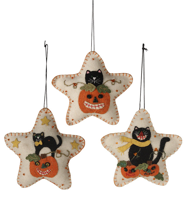 Halloween Kitty Cat Felt Star Ornaments