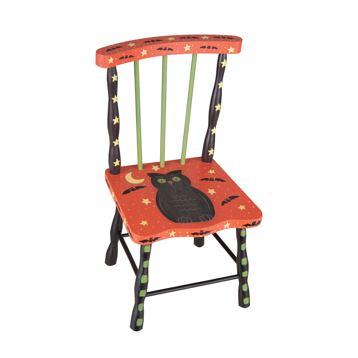 Halloween Doll Chair with owl, bats, crescent moon and stars